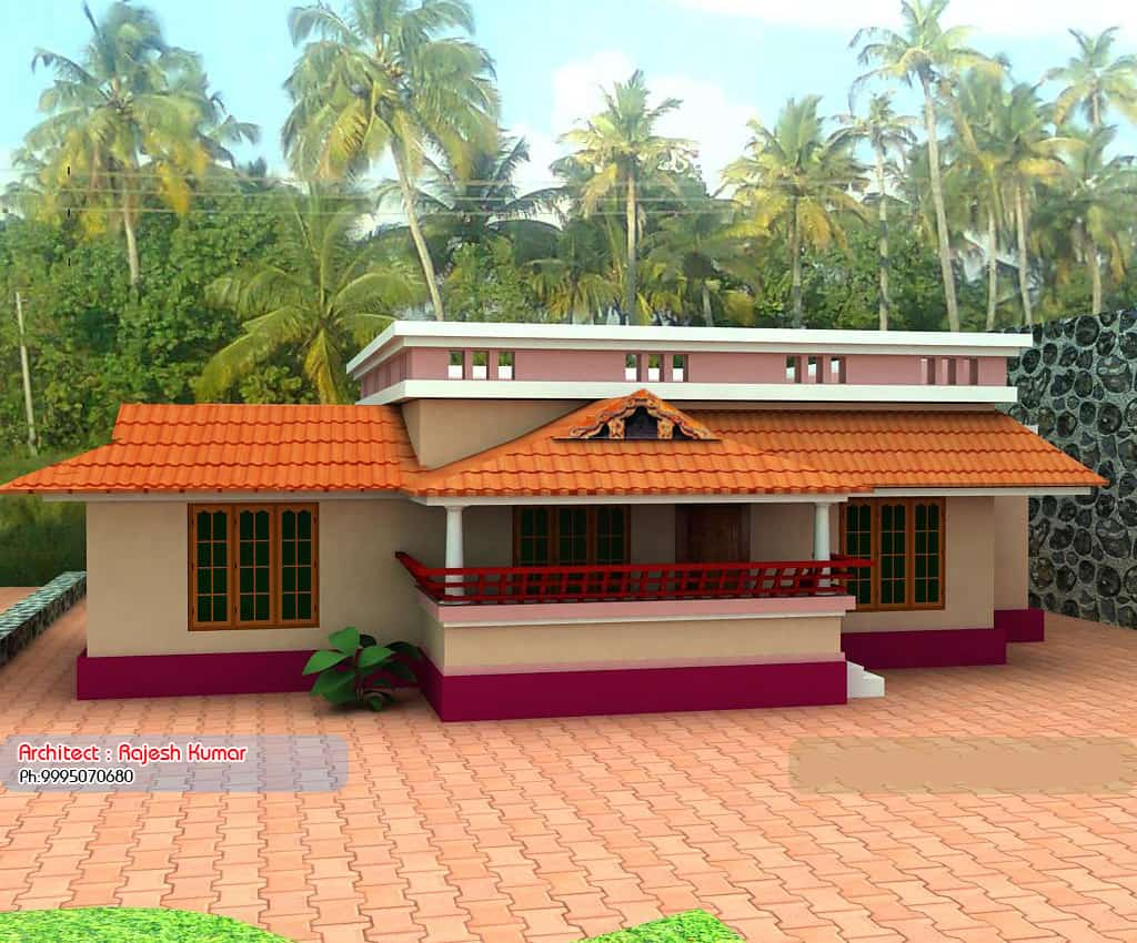 Kerala style single floor house plans and elevations for Simple house elevation models