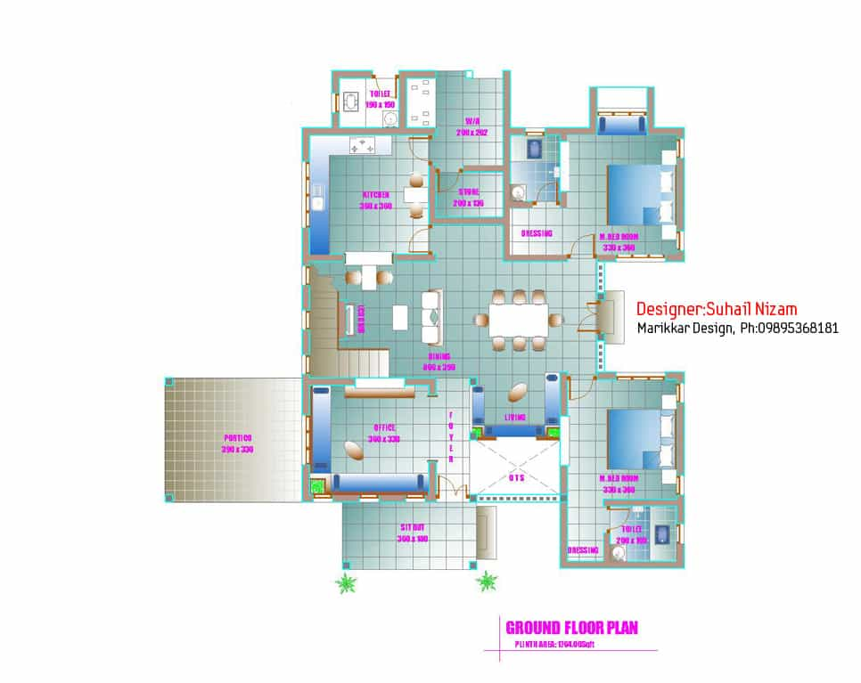 Modern kerala house plan 2700 for Housing plans kerala