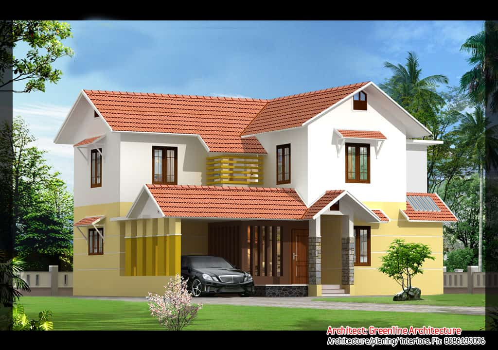 2 beautiful kerala villa elevations 2640 and 2100 for Home beautiful pictures