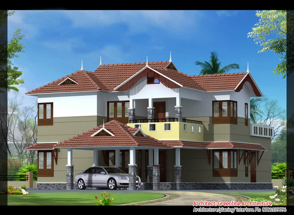 Kerala villa elevations of 2 beautiful homes 2640 sq ft