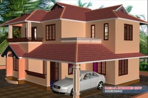 elevation 01 300x199 Kerala home plan and elevation : 2085 Sq.ft