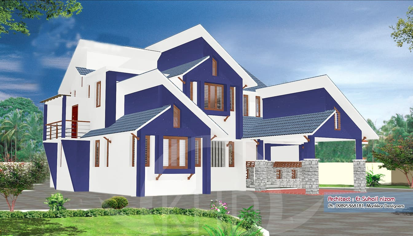 Beutiful kerala house elevation plan 2302 for Ground floor house elevation photos