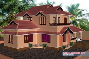 elevation 300x199 Kerala home plan and elevation : 2085 Sq.ft
