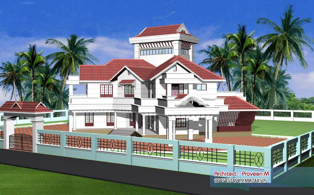 beautiful kerala villa elevations 2640 and 2100