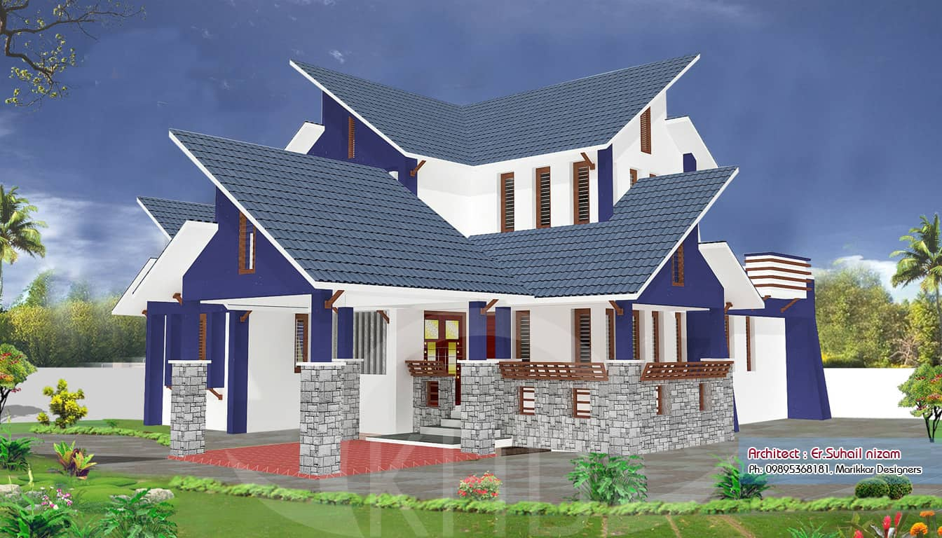 A beautiful kerala house and elevation plan 2302 for Elevation of kerala homes