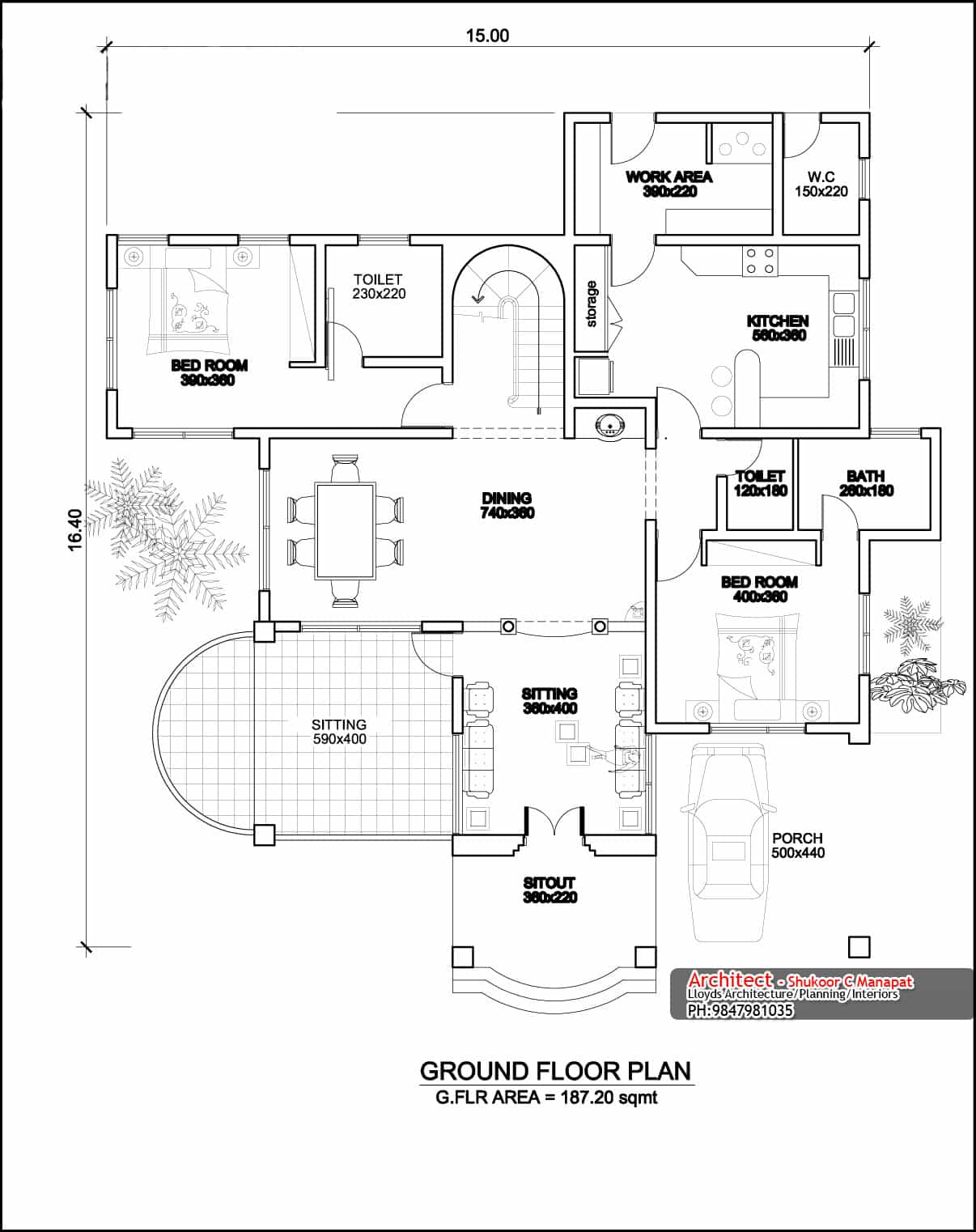 Two storey four bedroom house design at 3236 sq ft with plan Ground floor house plan