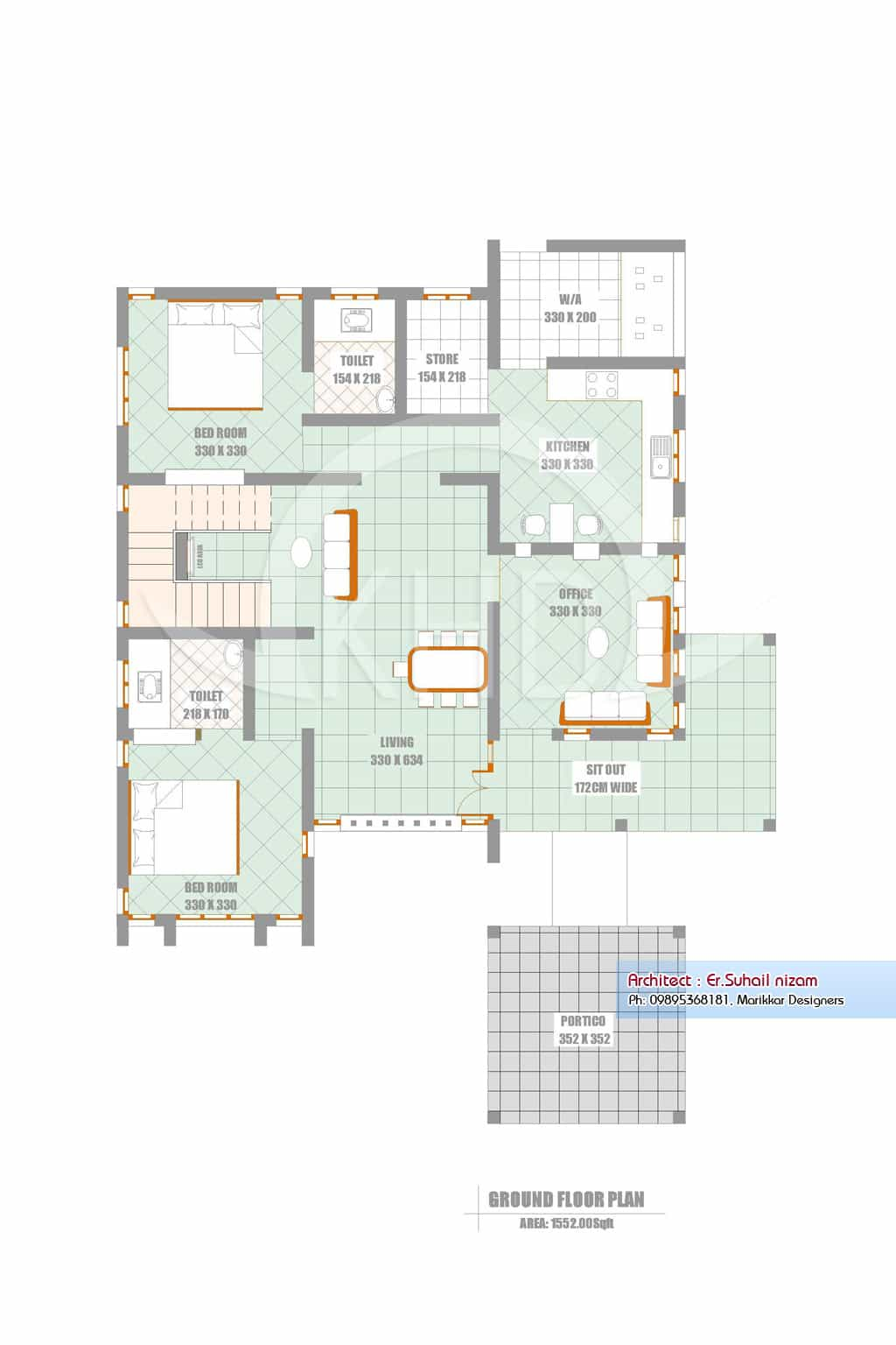 Ground Floor Elevation Work : A beautiful kerala house and elevation plan sq ft