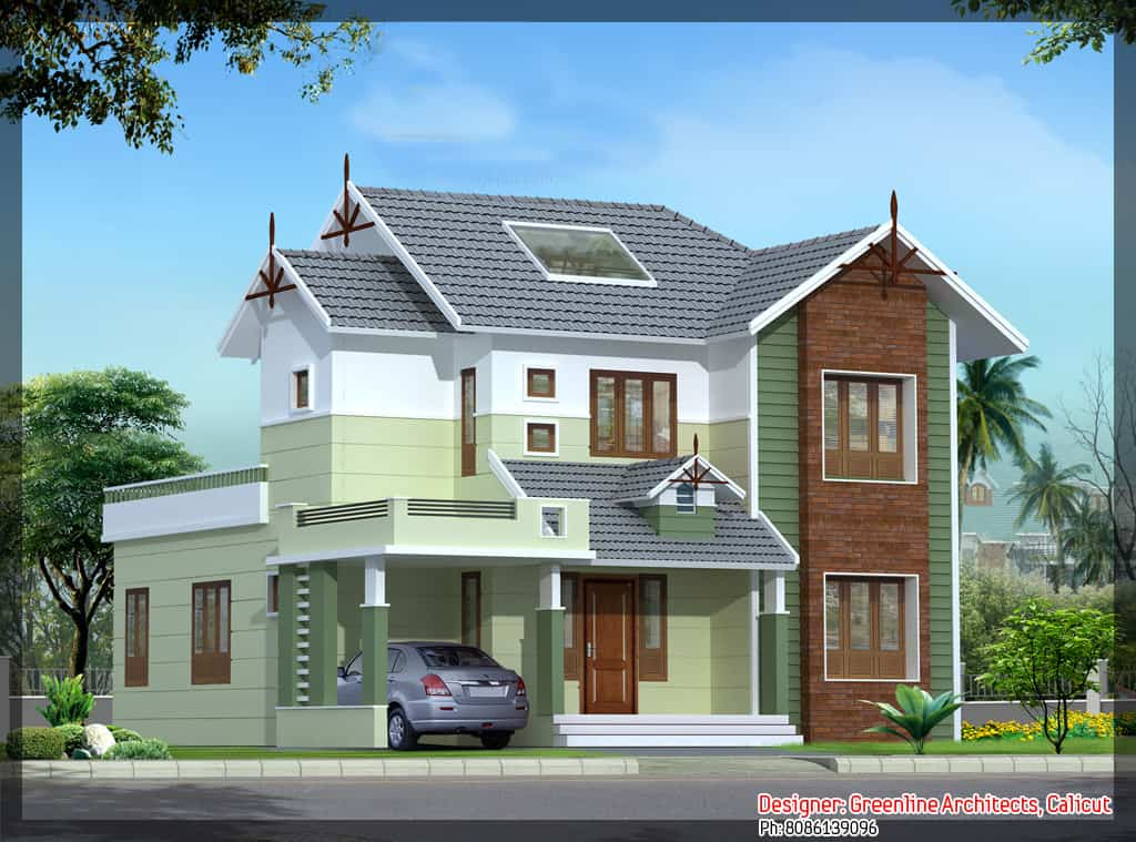 Free house plans 4 5 keralahouseplanner for Simple house elevation models