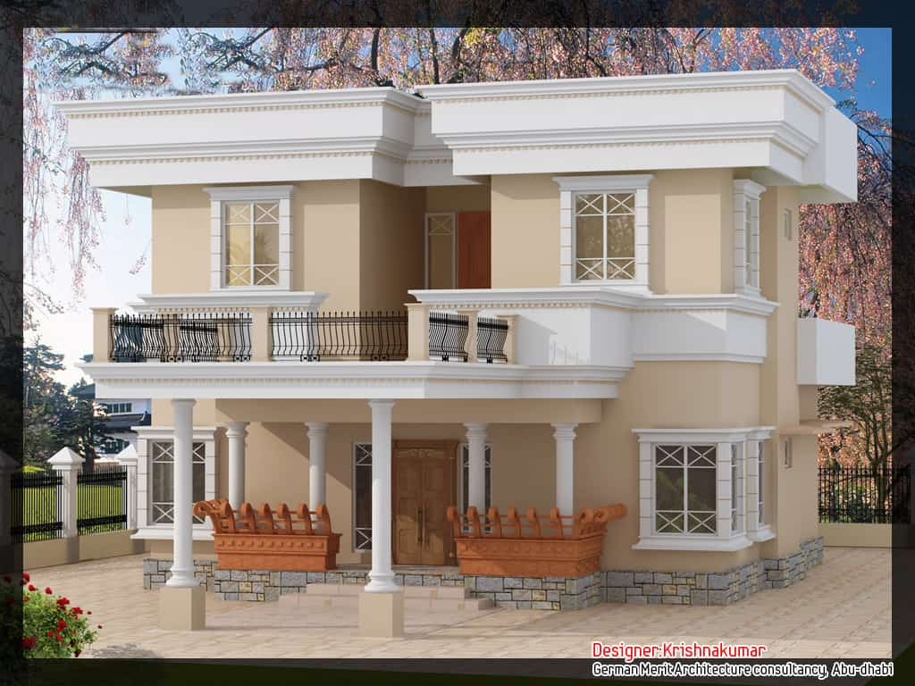 House elevation 3d for Simple kerala home designs