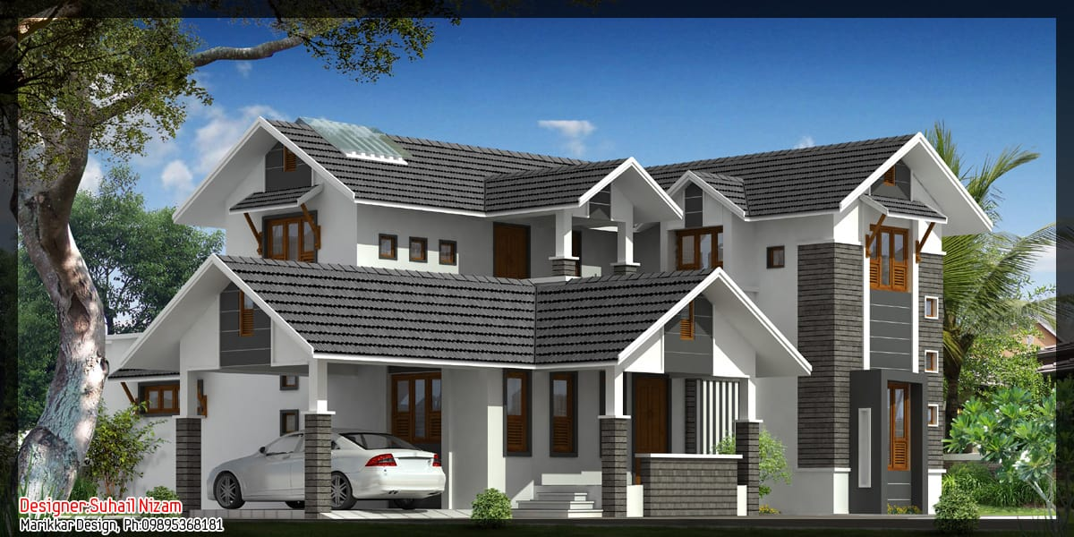 Modern kerala house plan 2700 for 2700 sq ft house plans
