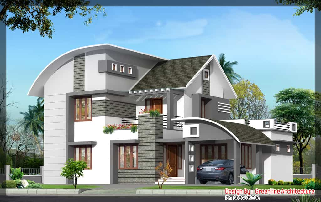 House plan and elevation for a 4bhk house 2000 sq ft for Latest house designs photos