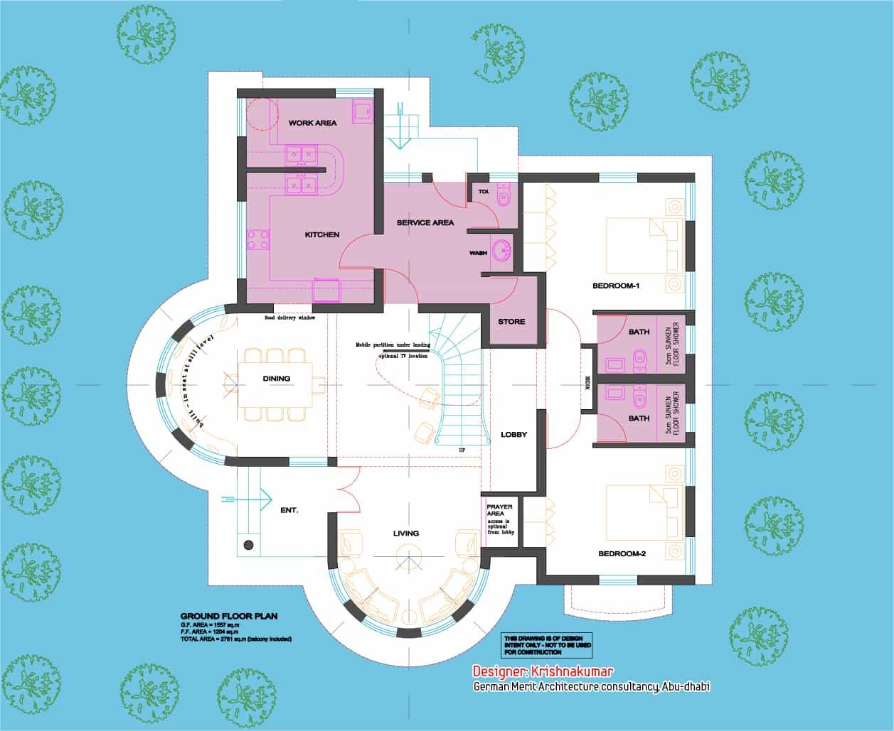 Semi circular villa 2700 for Plan villa