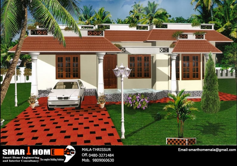 1x1.trans Single Floor Kerala House Plan and elevation 1320 sq.ft