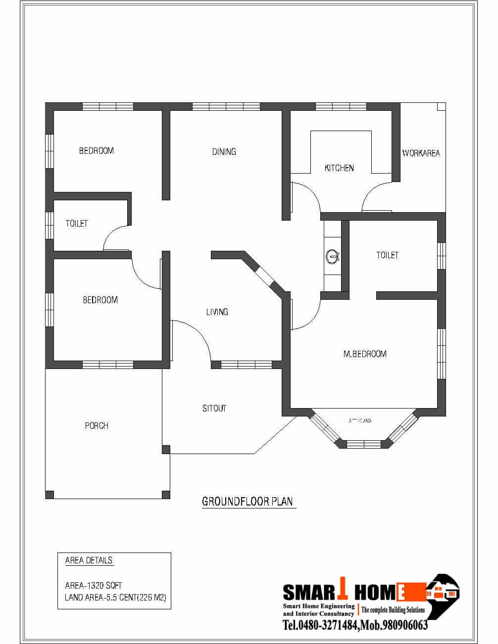 Single storey kerala house plan 1320 for Single floor house plans
