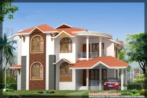 beautiful home 1751sqft 300x200 Kerala home design at 1751 sq.ft