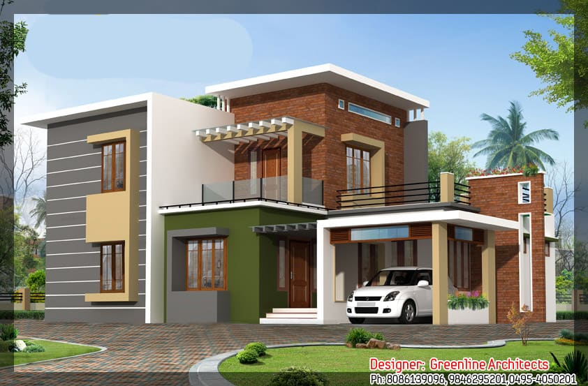 Modern new home elevation at 1915 24 lakhs estimate for Latest house elevation
