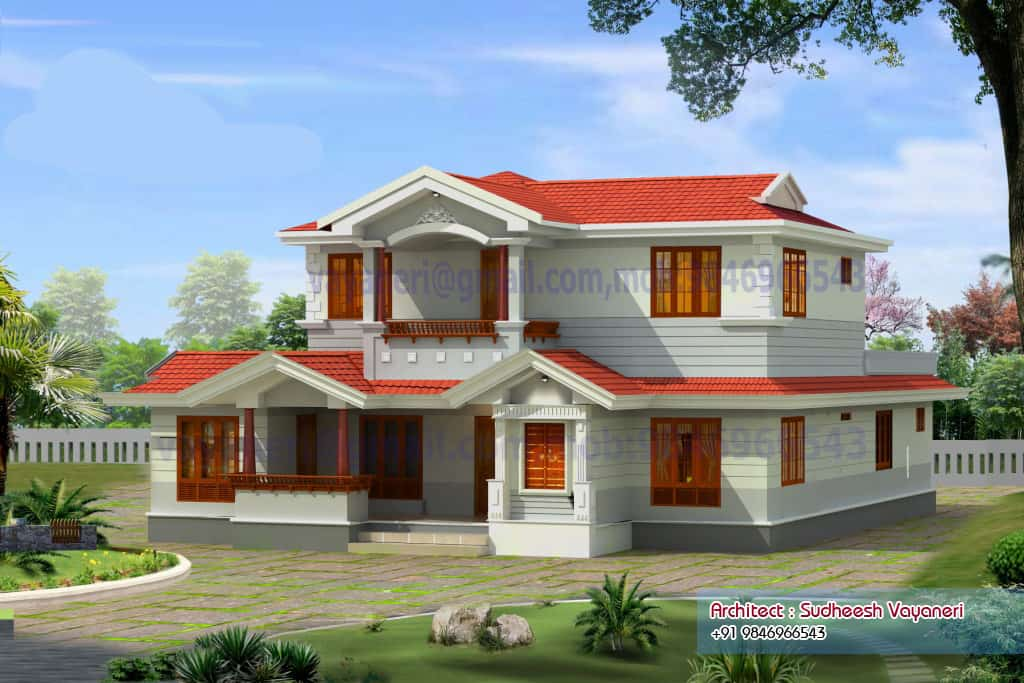 Kerala home plan and elevation at 2497 sq.ft-Kerala House Plan