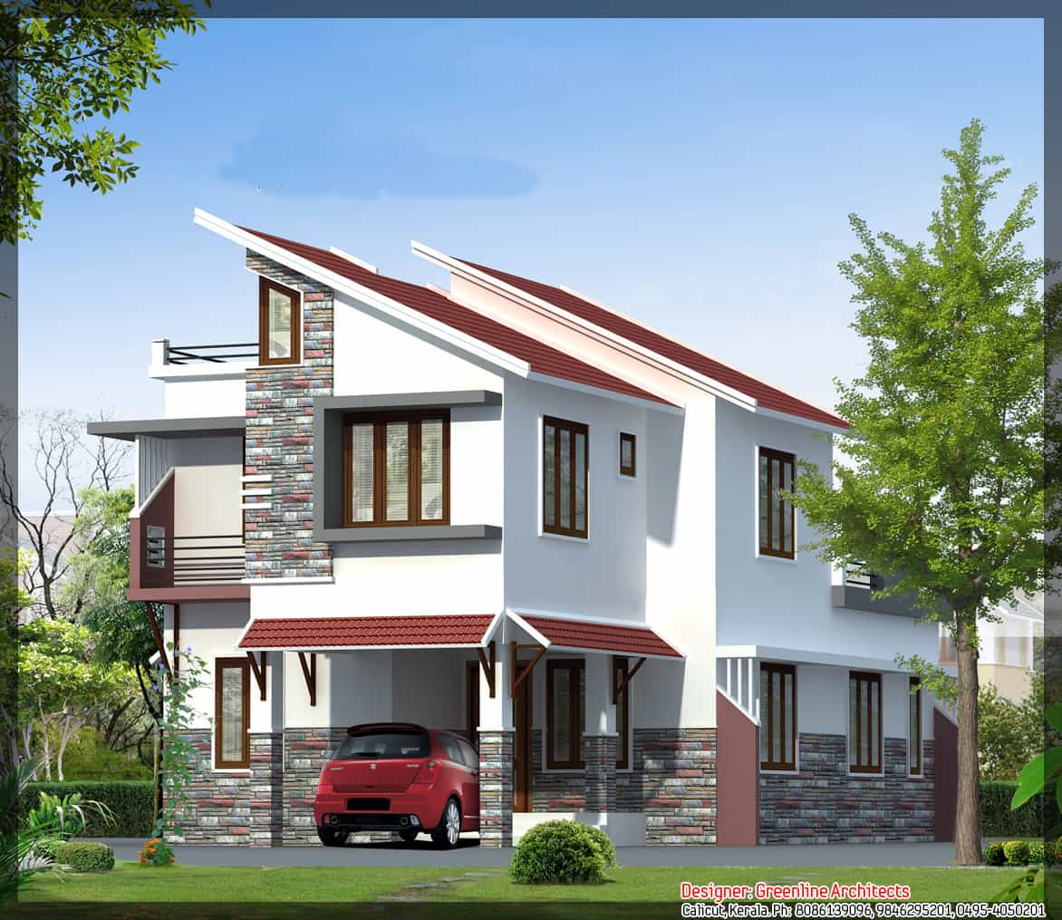 Kerala House Elevation at 1577 sq ft Kerala House Plan