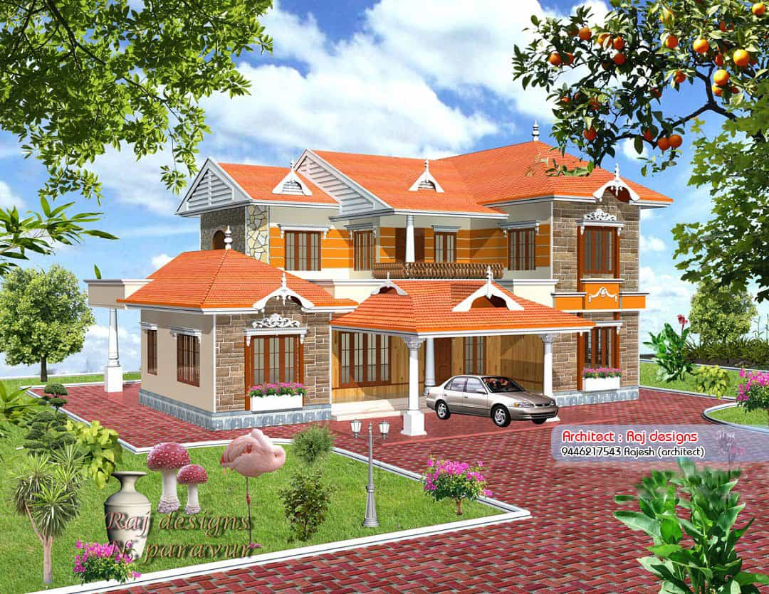 Beautiful new kerala villa design at 3000 for New houses in kerala