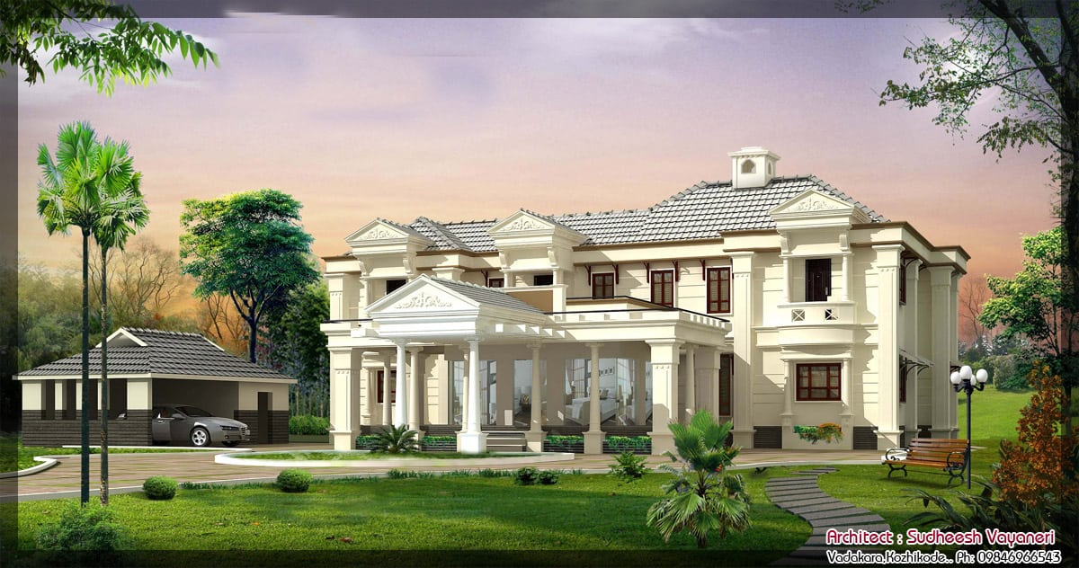 3850 sq ft luxurious colonial house design with home theatre for Colonial style home design in kerala