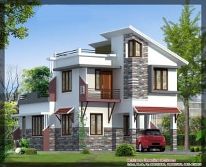 modern villa 300x243 Latest Villa Elevation at 1577 sq.ft