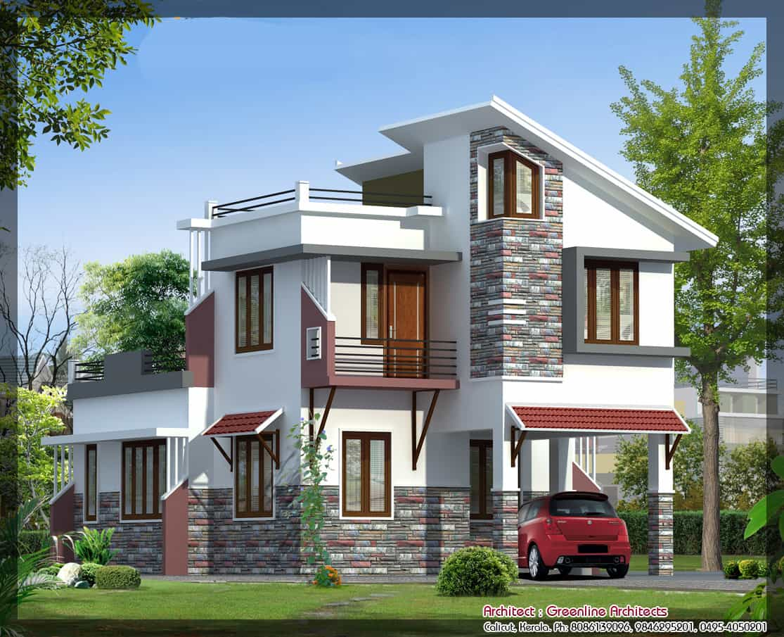 Latest villa elevation at 1577 In home design