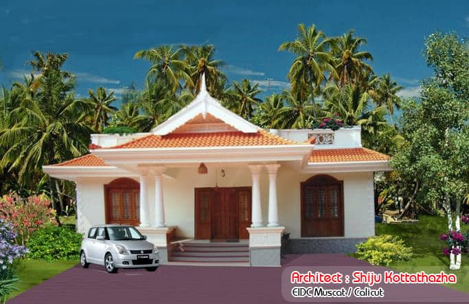 Simple kerala style home design at 1155 for Simple home elevation design