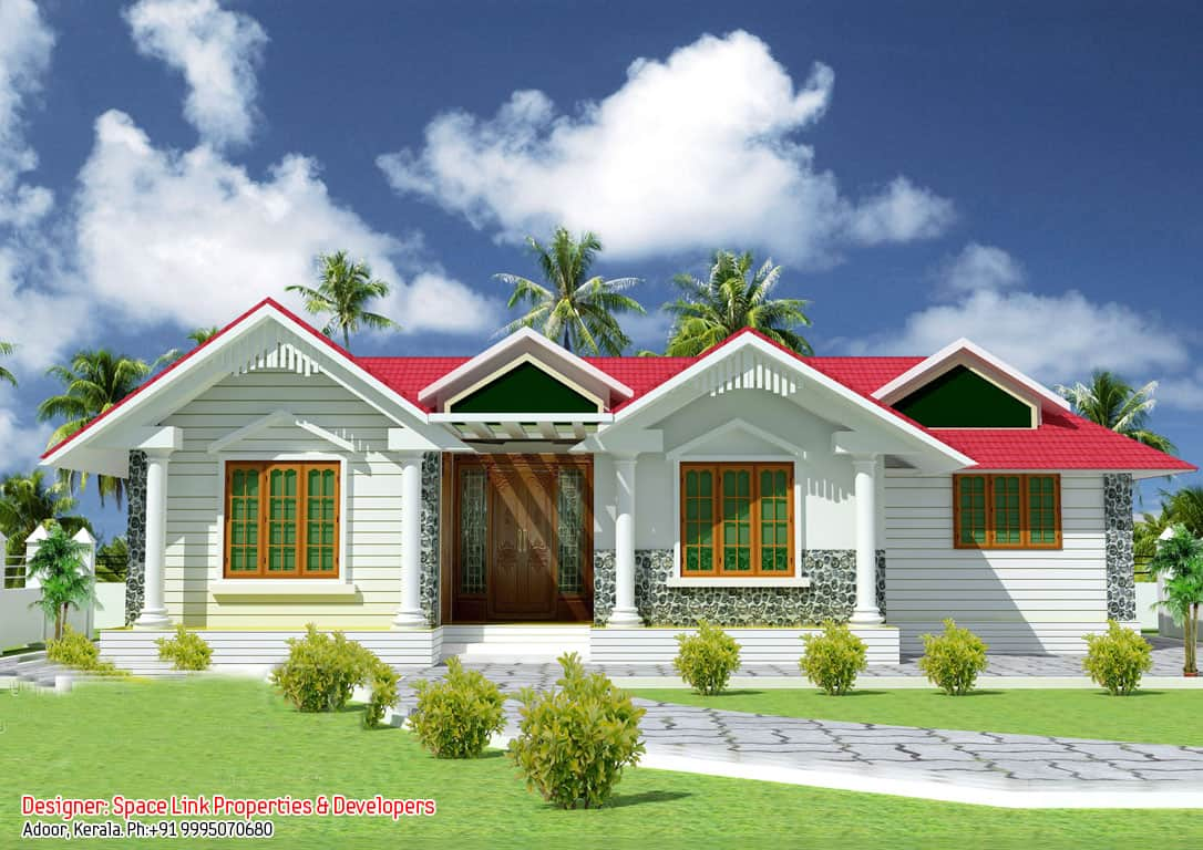 superb single floor design kerala house at 1070 sqft - Single Floor House Plans