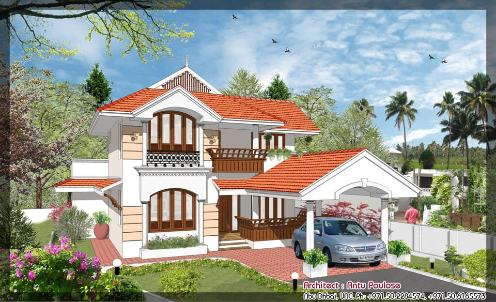 Simple home designs 3 4 keralahouseplanner Villa designs india
