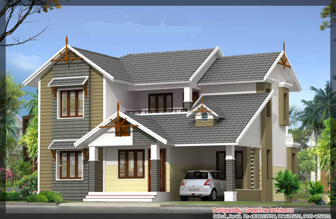 Home Elevation Plan at 1768 sq ft Kerala House Plan