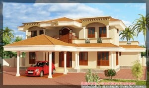 2400 sqft home 300x177 Latest Kerala home plan at 2400 sq.ft