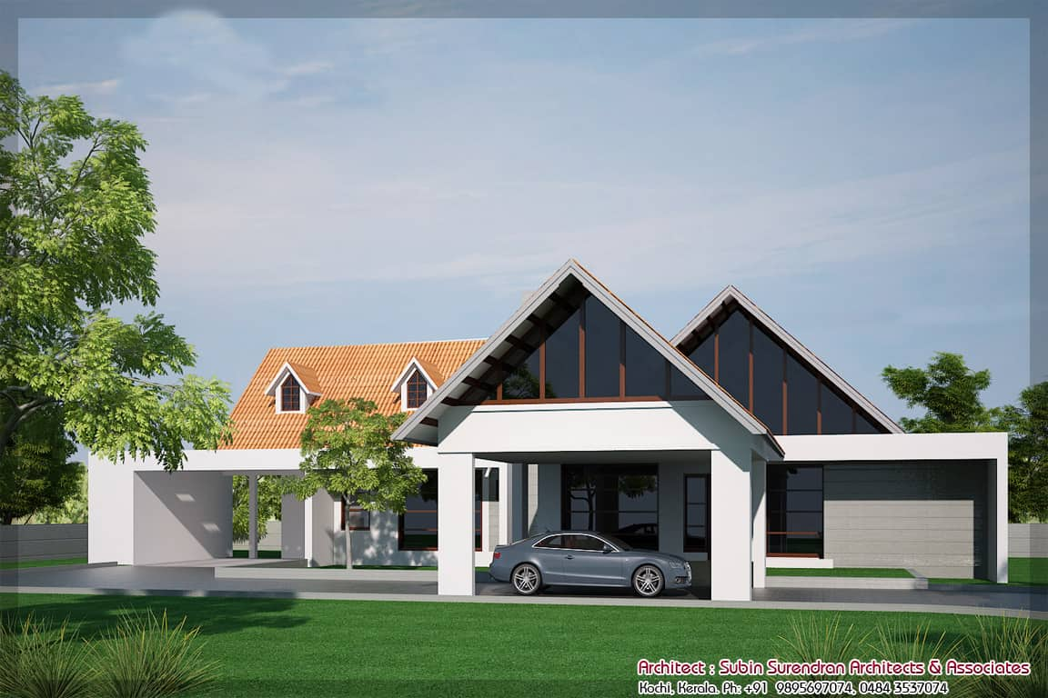 Contemporary House Elevation Single Floor: Beautiful Flat Roof Kerala Home Design 2014