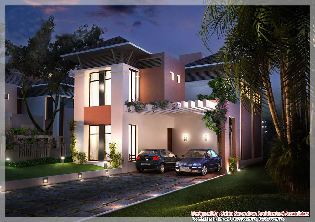 Kerala house plans and elevations for Modern villa plans and elevations