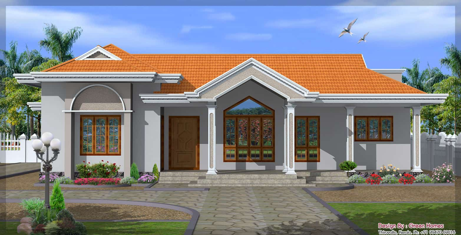 Single floor house plan and elevation 1680 sq ft kerala home