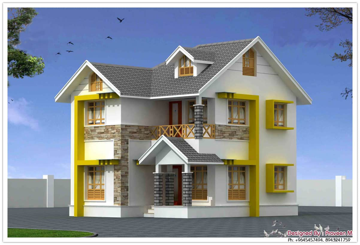 beautiful duplex house elevation at 1440 sq.ft