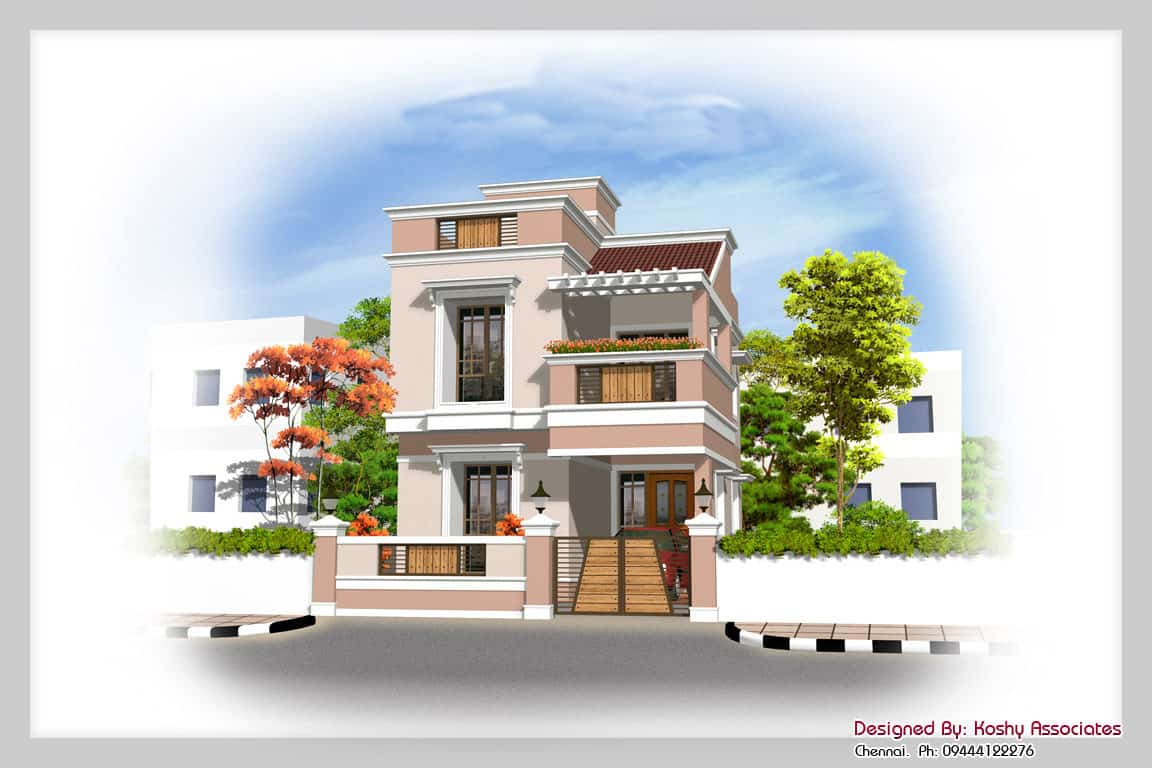 Duplex House Design at 1600 sq.ft