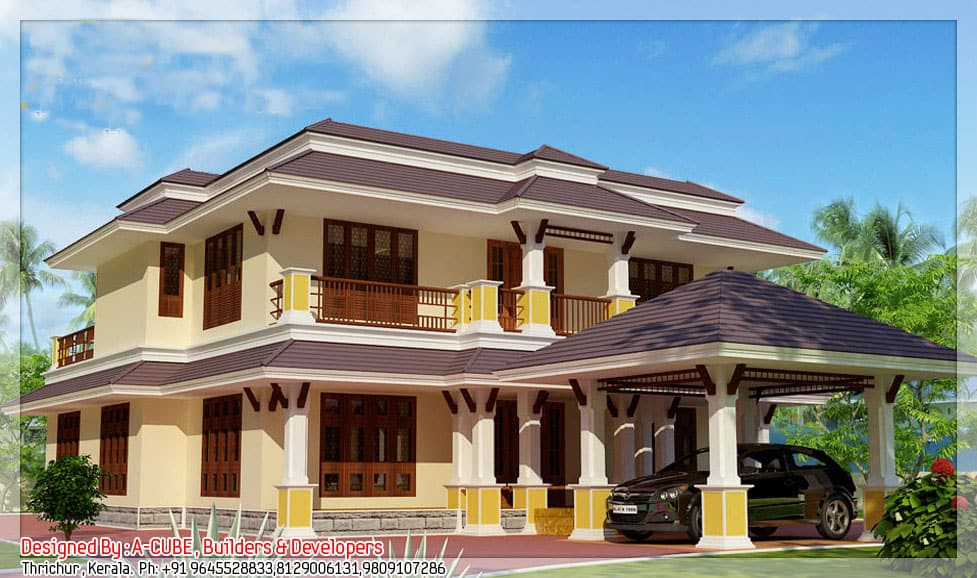 5bhk luxury kerala villa design at 3700 Villa designs india