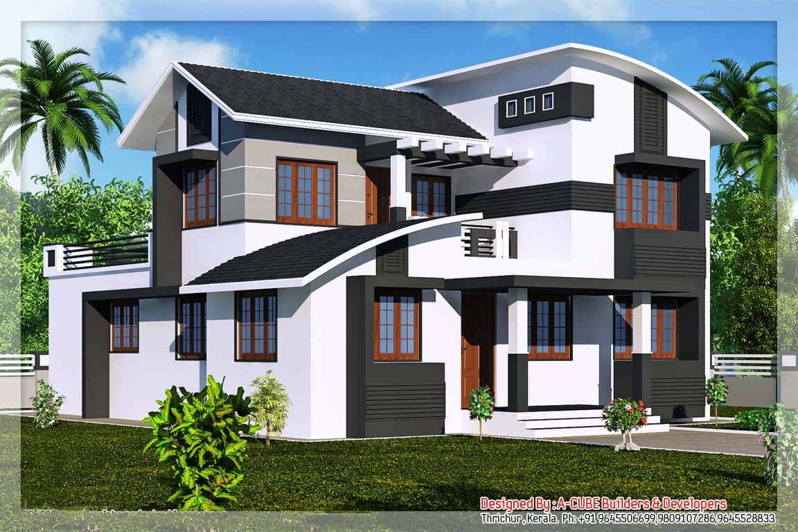Kerala house plans with estimate for a 2900 home design for Estimated cost building duplex