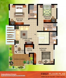 first floor 257x300 Kerala Style Contemporary Villa Elevation and Plan at 2035 sq.ft