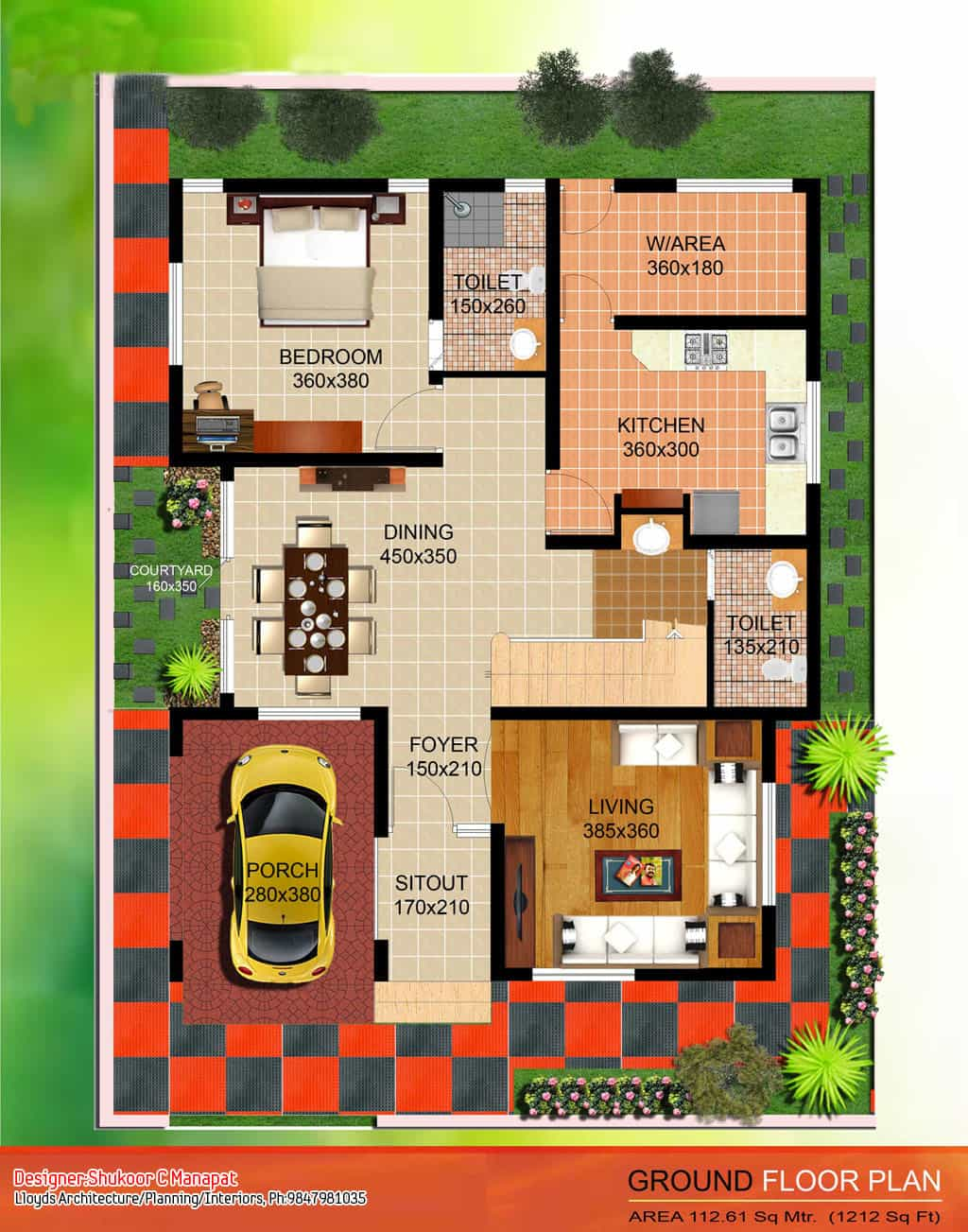 Kerala Style Contemporary Villa Elevation and Plan at sq ft