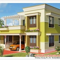 Very simple Kerala house elevation at 1879 sq.ft