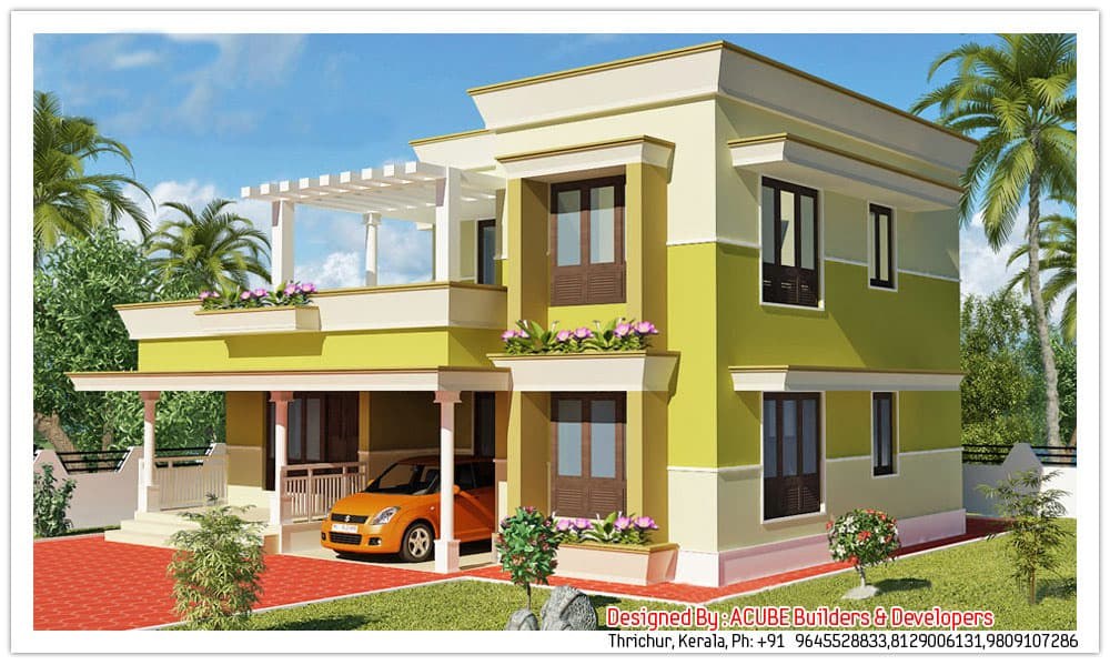 Kerala contemporary house design at 1800 for Simple house elevation models