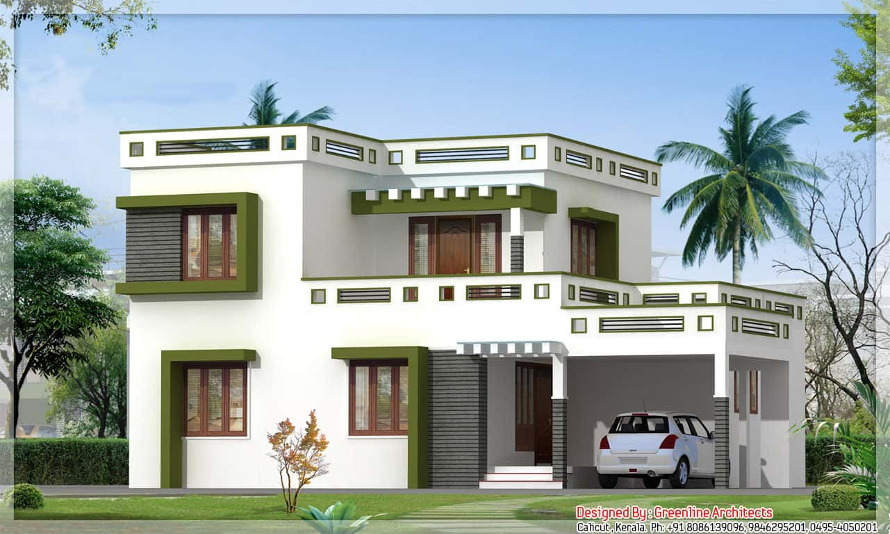 Beautiful flat roof kerala home design 2014 for Kerala house plans 2014