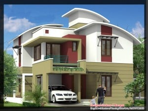villa design 3d 300x225 Kerala Style Contemporary Villa Elevation and Plan at 2035 sq.ft