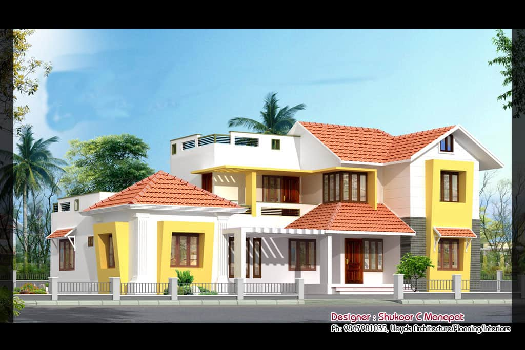 House elevation designs keralahouseplanner for Beautiful villa design