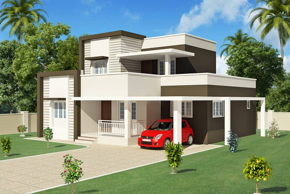 Low cost contemporary kerala home design at 2000 for Price to build a 2000 square foot house