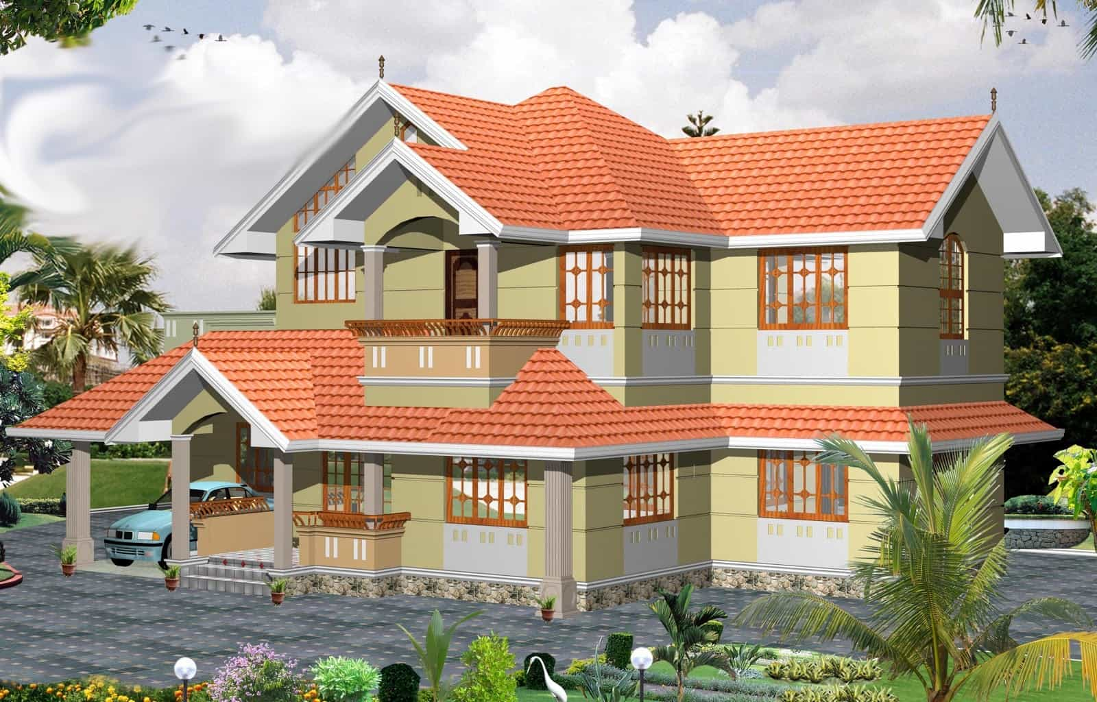Traditional 3 bhk kerala villa design at 2000 for Kerala style villa plans
