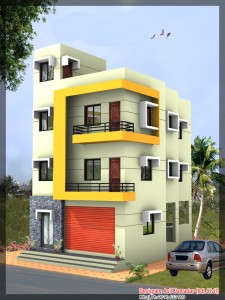 3 story house plan 225x300 three story house designs kerala keralahouseplanner,Three Story Home Design