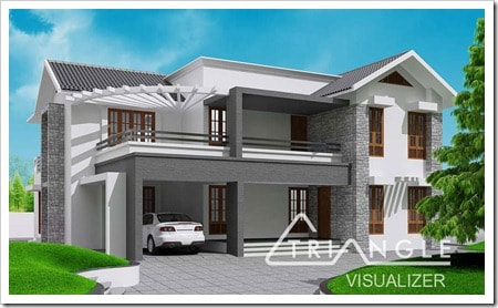 thumb Kerala Sloping Roof Contemporary House Design at 2300 sq.ft