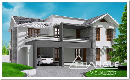 contemporary kerala house plans   KeralaHousePlannerKerala Sloping Roof Contemporary House Design at sq ft